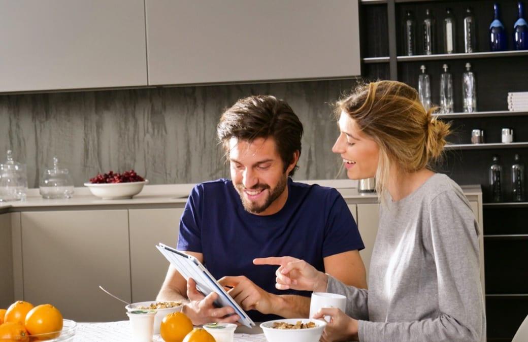 couple enjoying their breakfast
