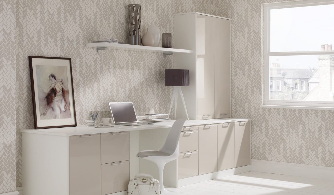 Designer Office in White with Mushroom Gloss fronts