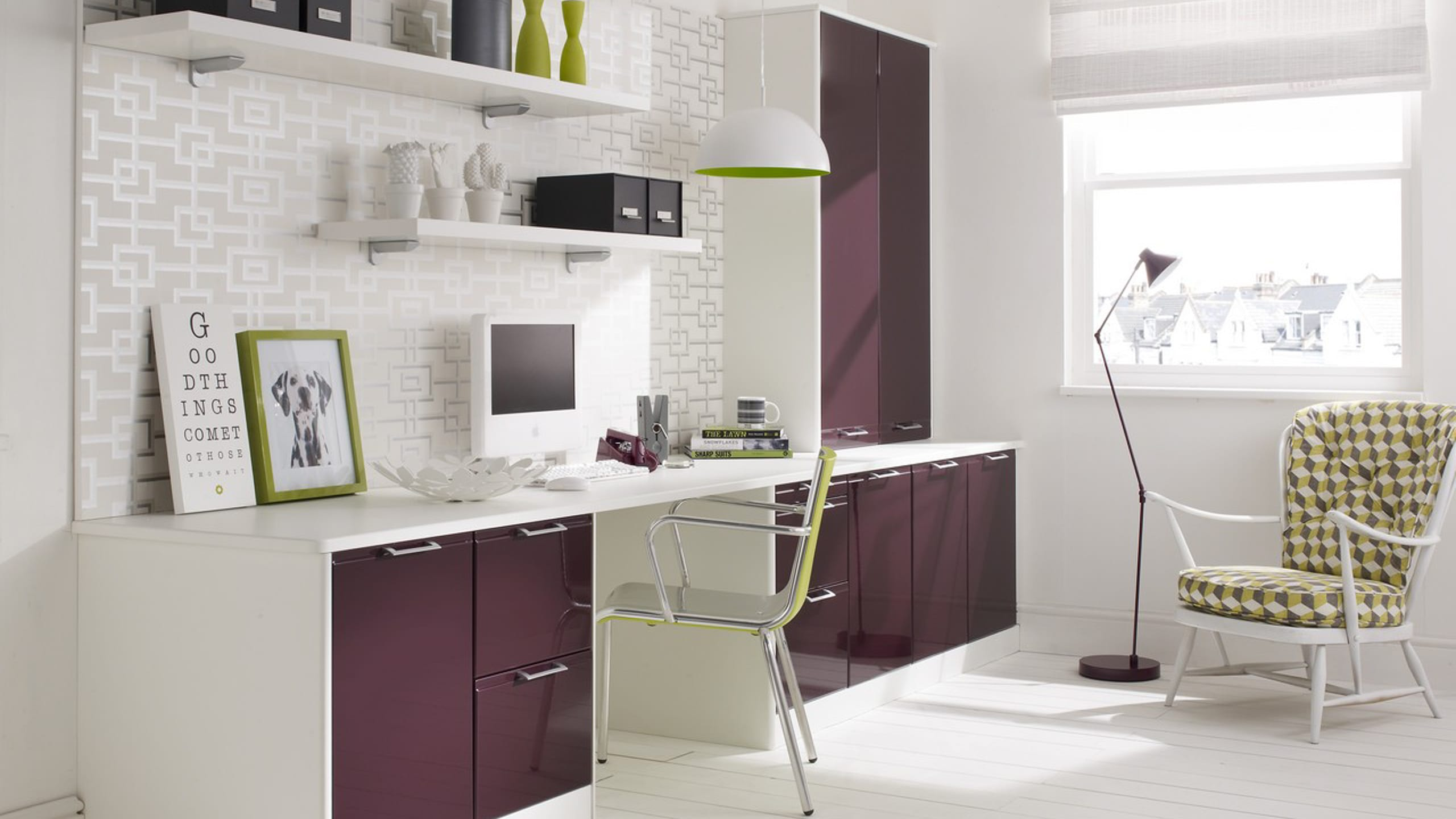 Designer Office in White with Plum Gloss fronts