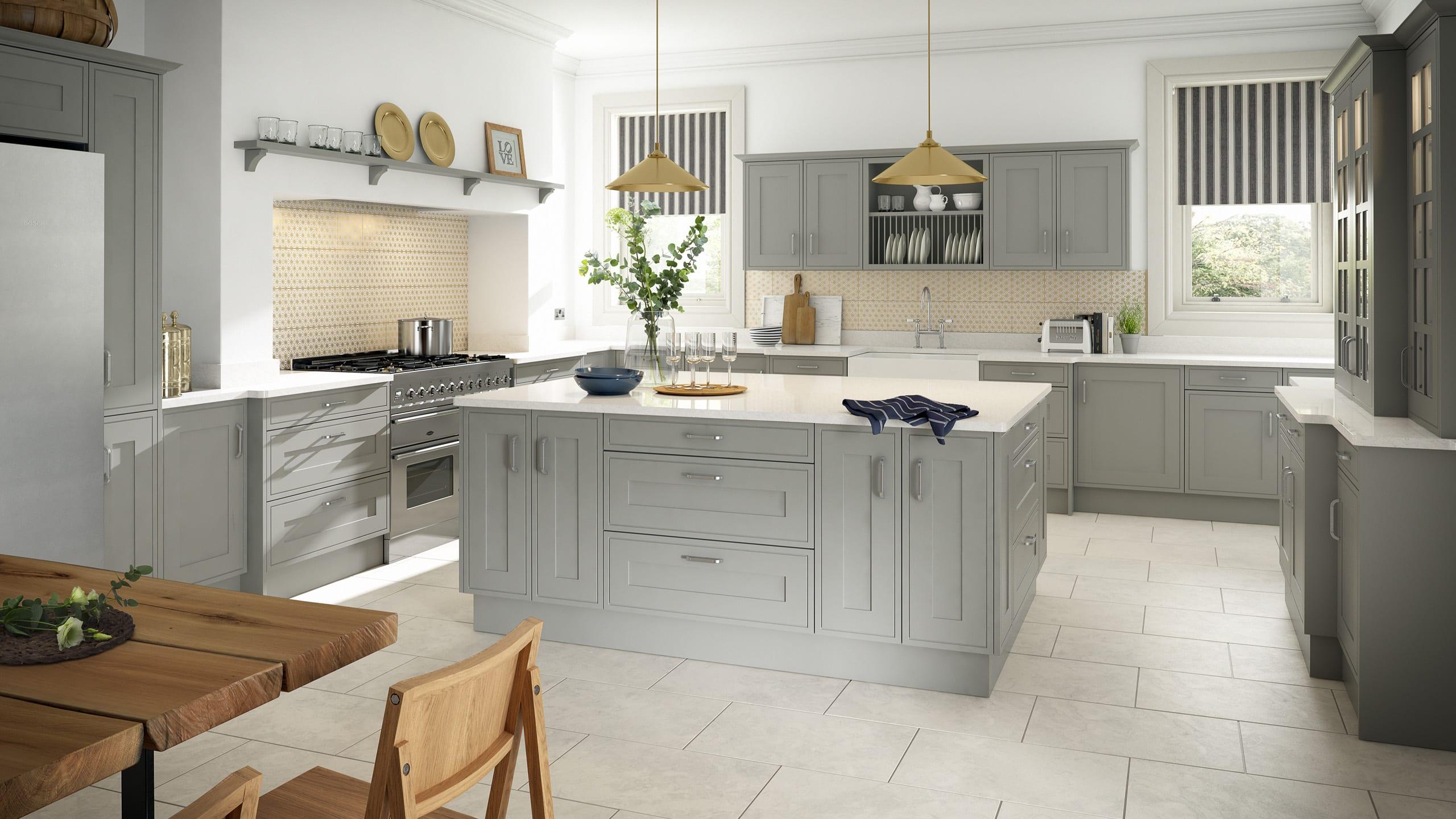 Edwardian Painted Light Grey - kitchen