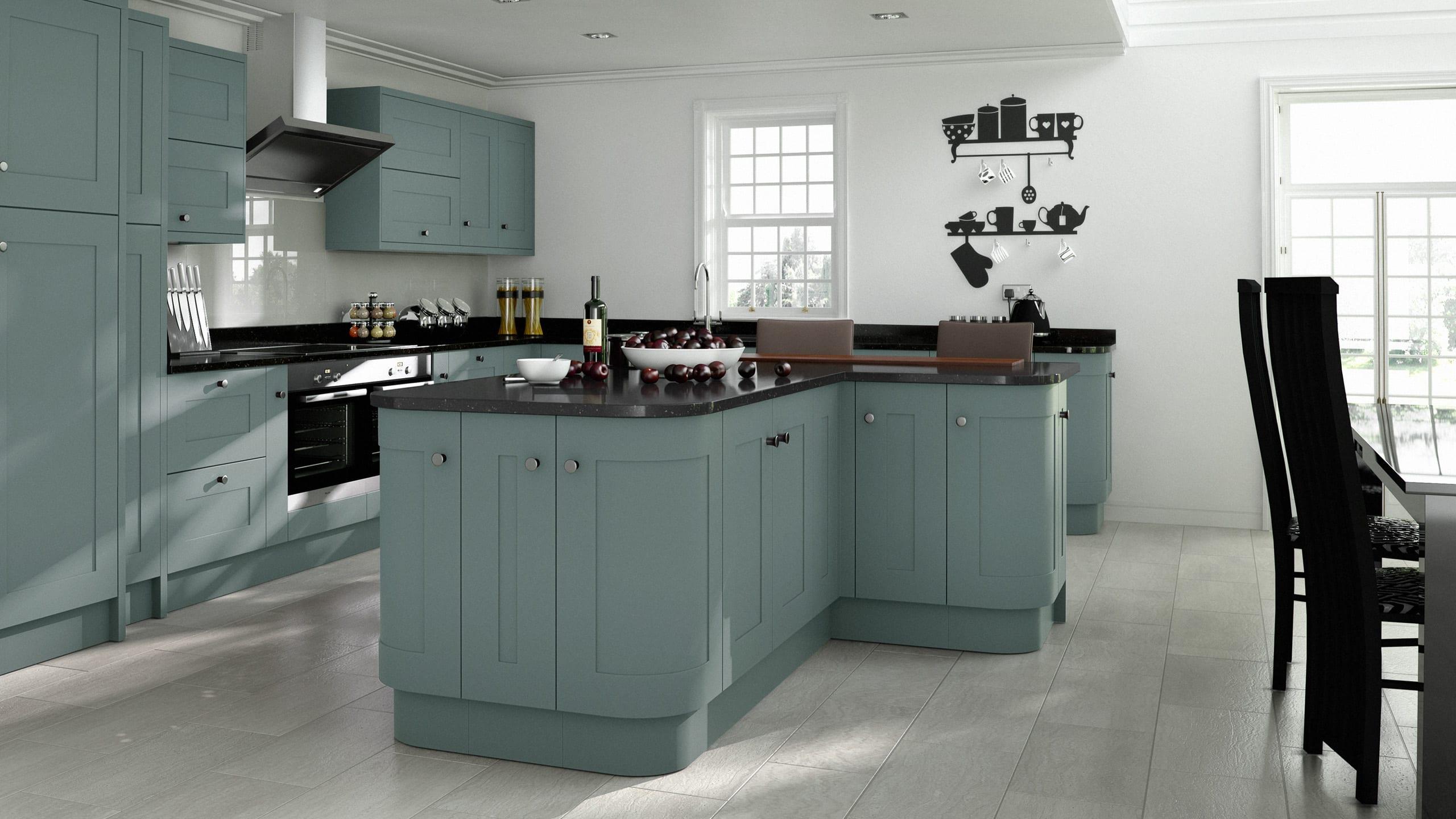 Elegant Painted Steel Blue - kitchen