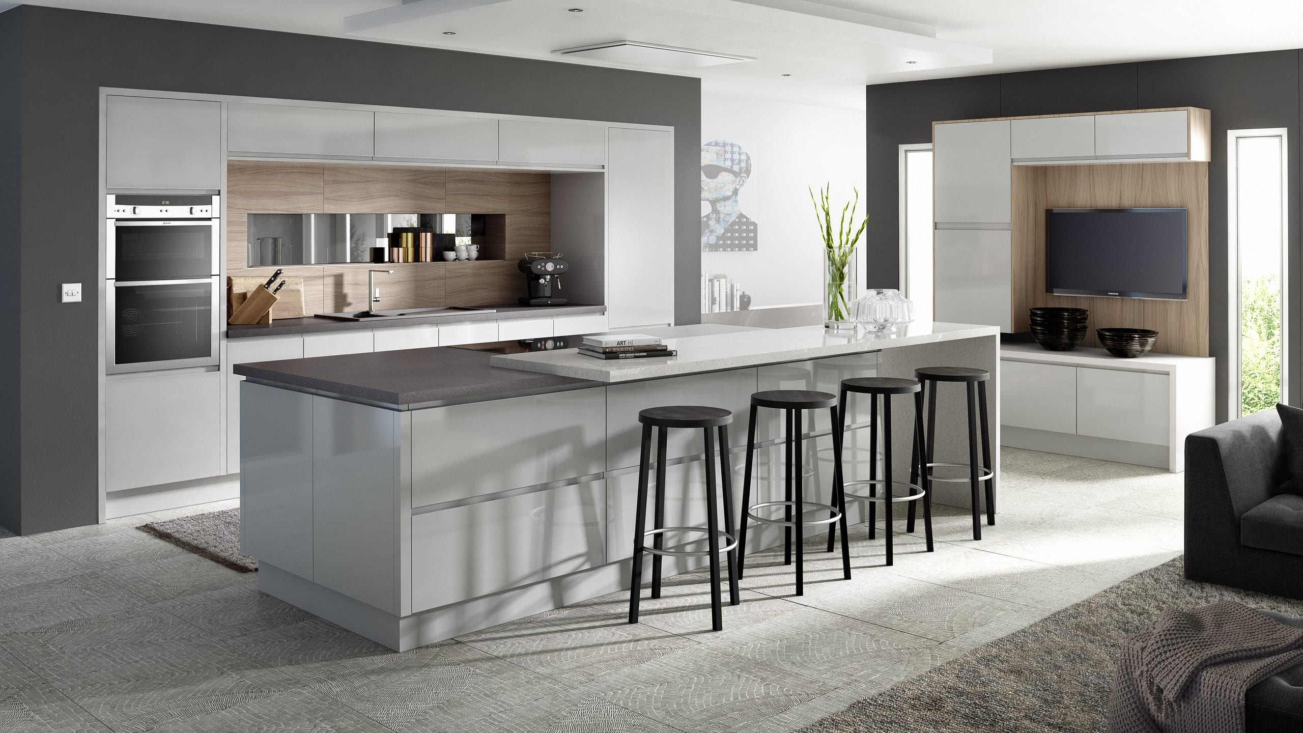 In-Line Gloss Light Grey - contemporary kitchen