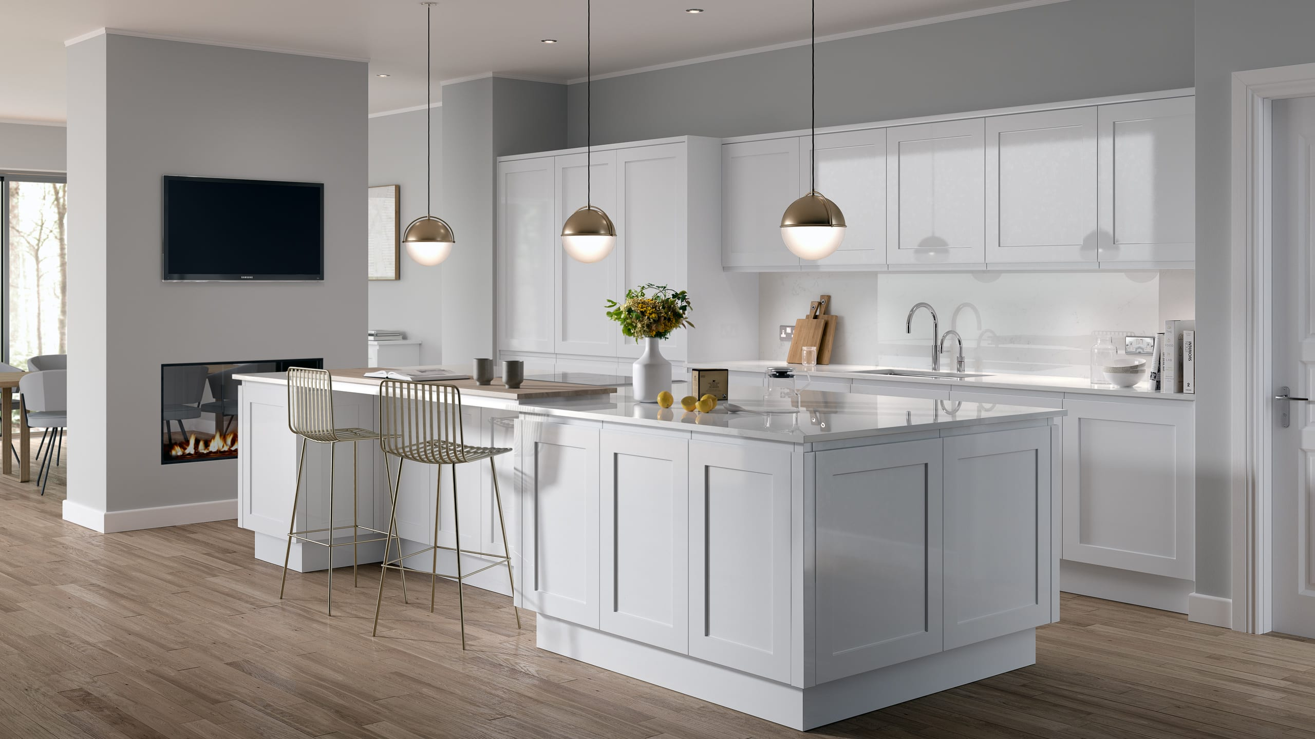 In-Line Gloss White Shaker - kitchen