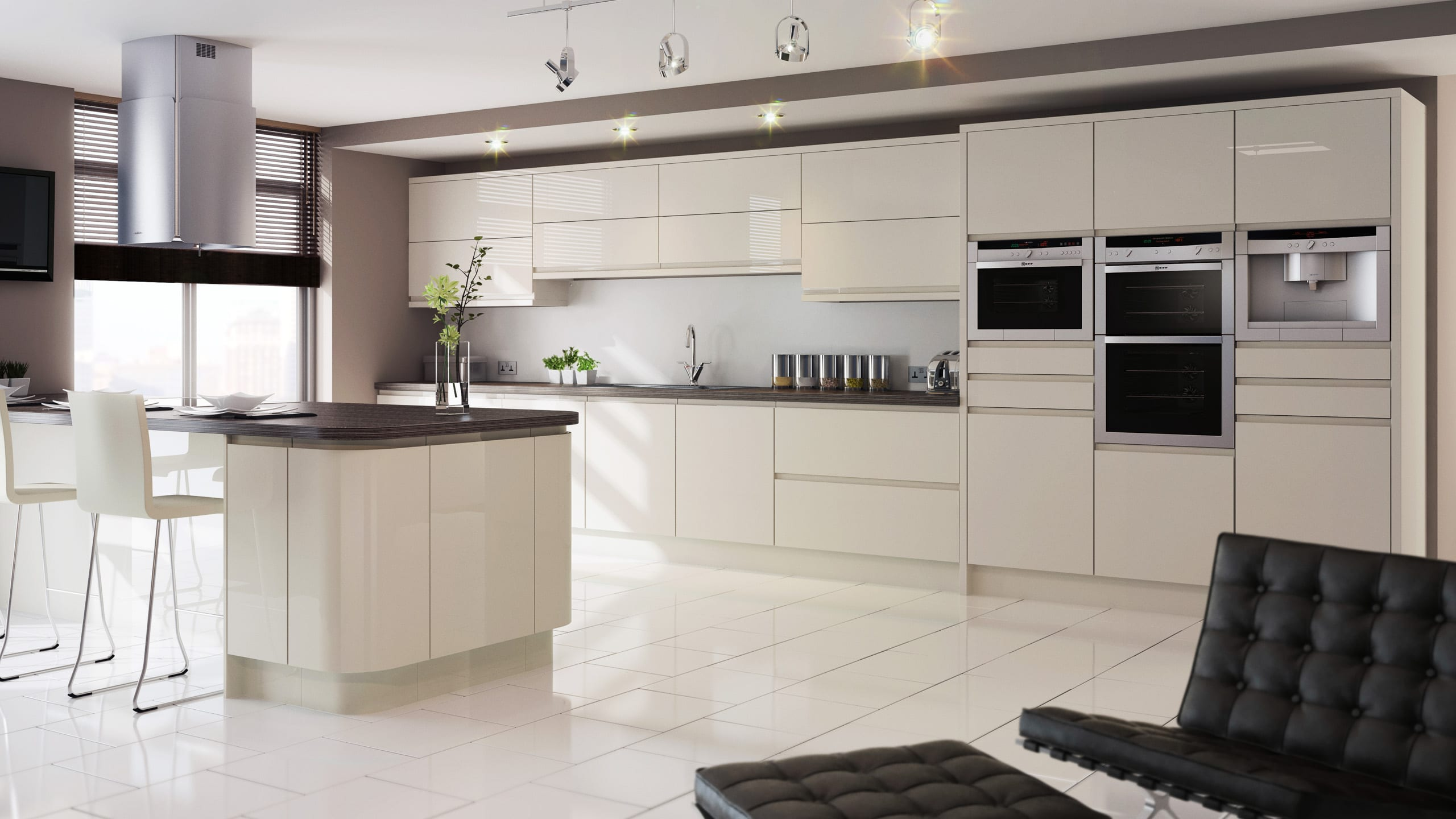 Gloss Ivory - contemporary kitchen