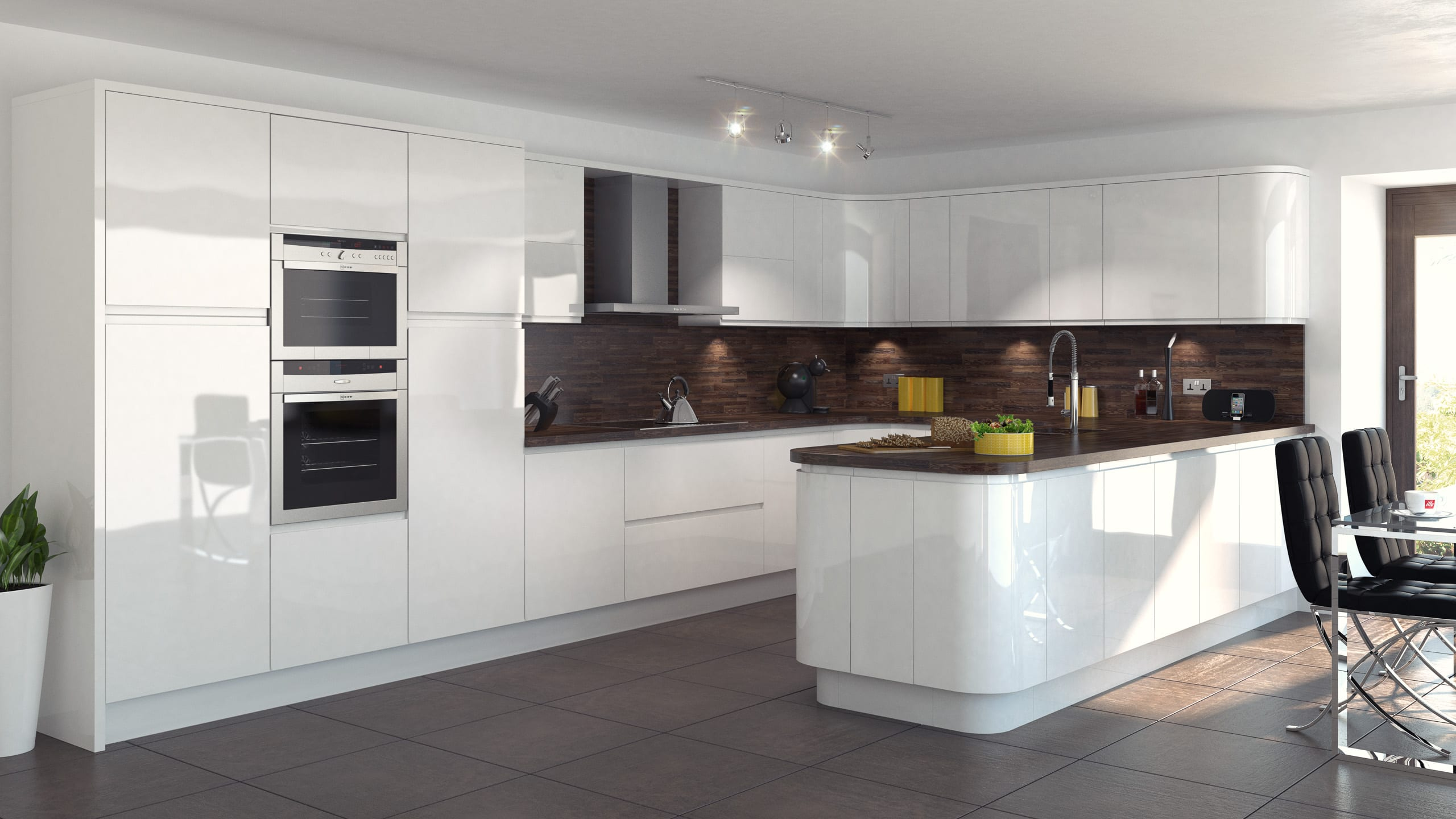 In-line Gloss White kitchen