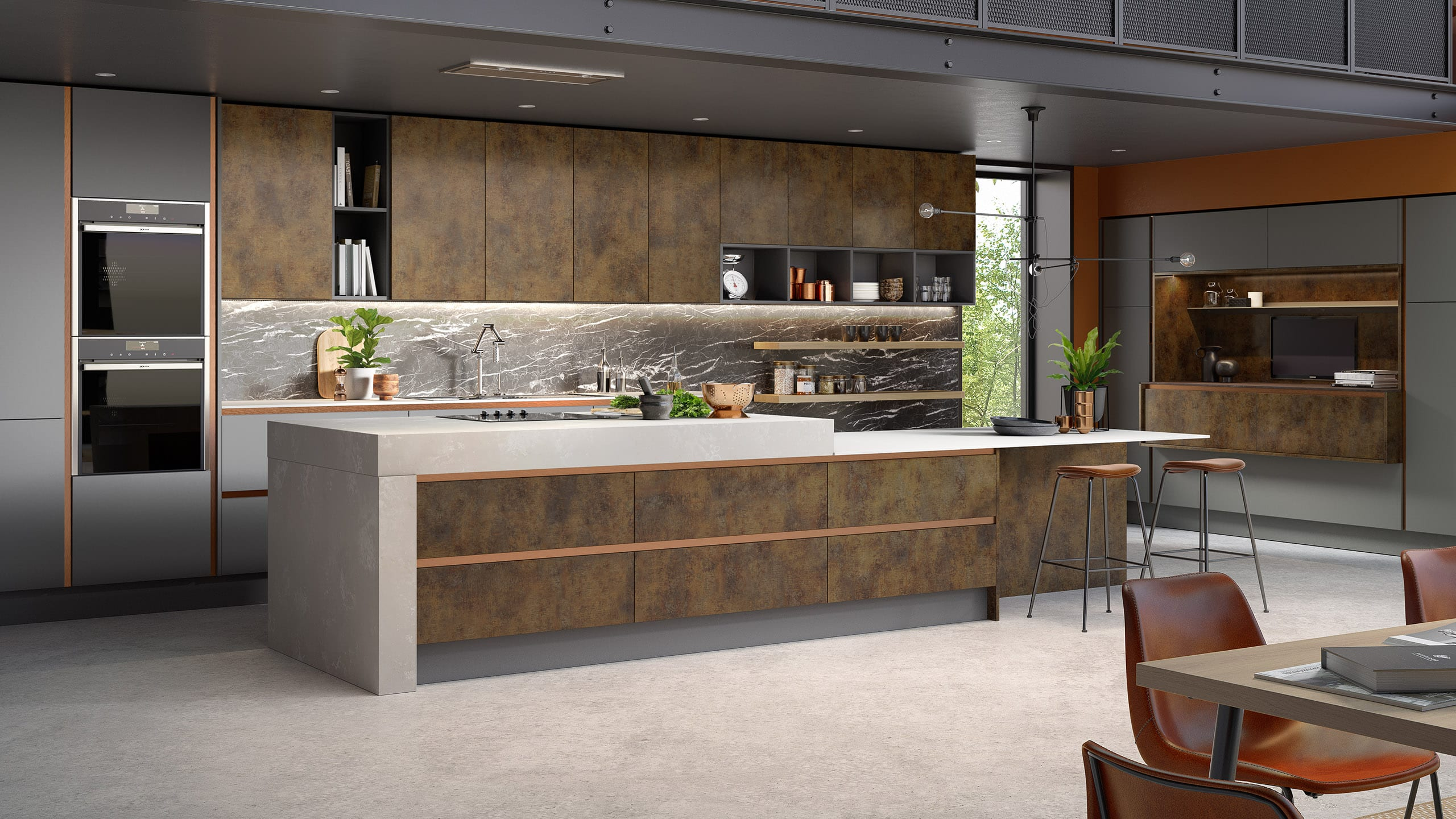 Inset Cube Copper Dusk Grey and Graphite - contemporary kitchen