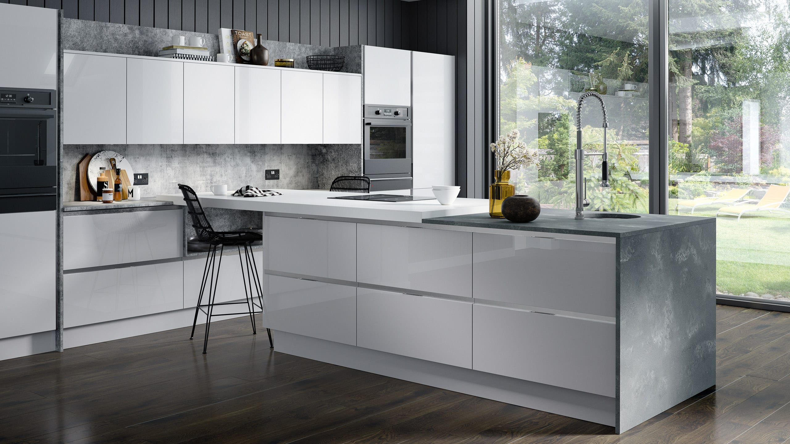 Inset Gloss Light Grey kitchen