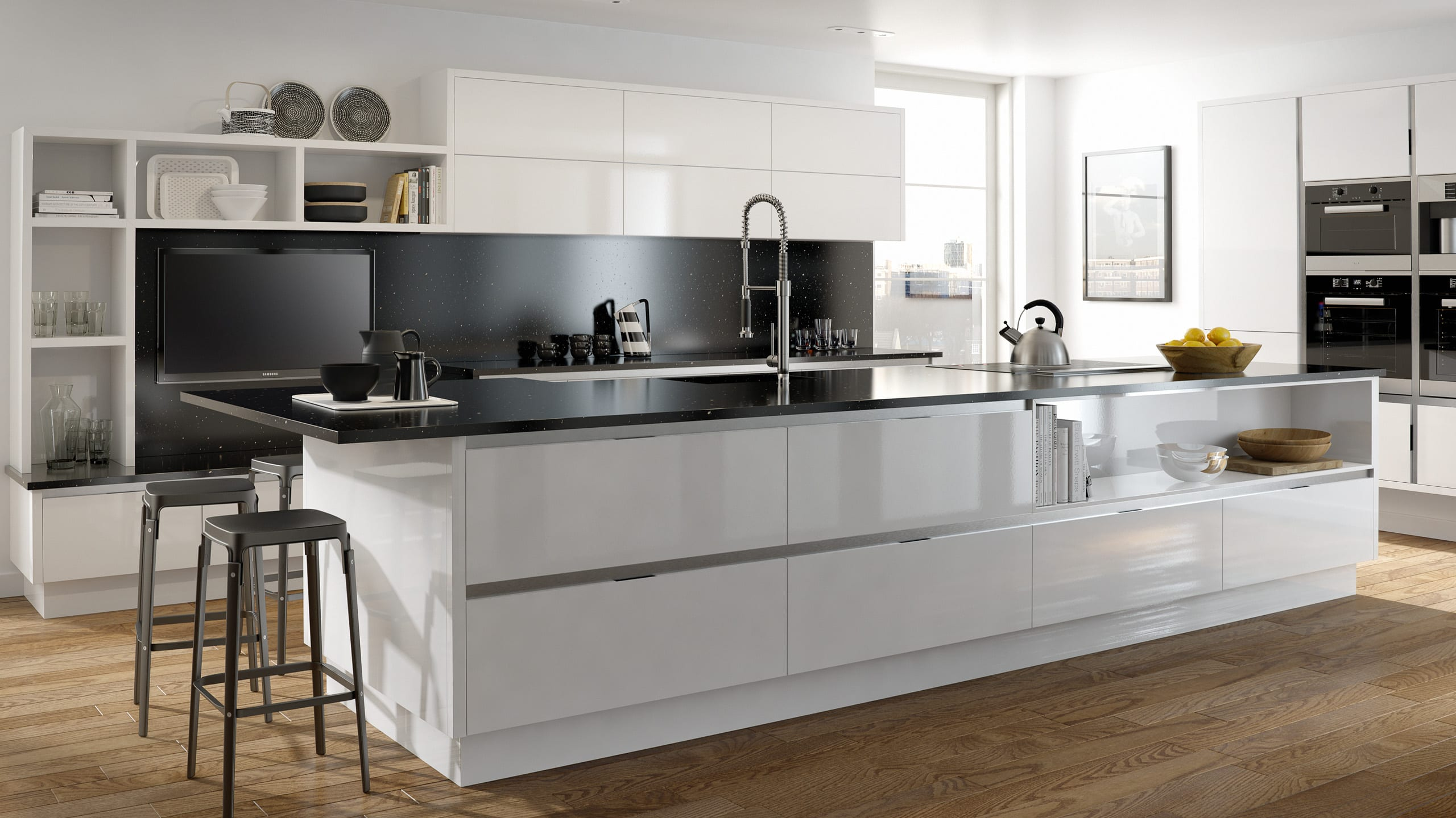 Inset Mattonella Gloss White (Main) - contemporary kitchen