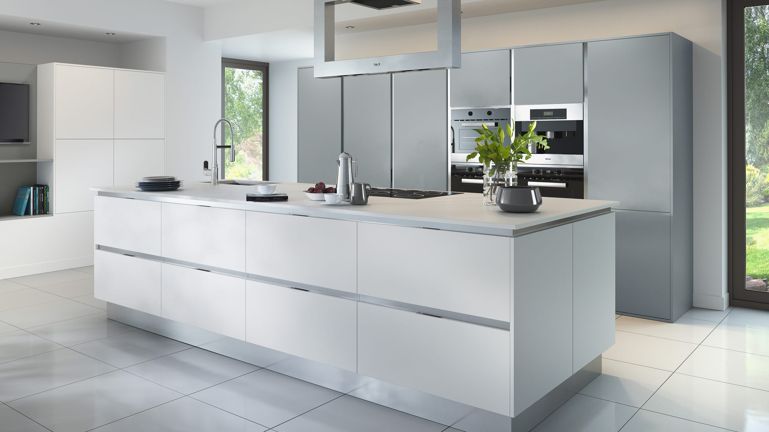 Inset Setosa Painted Light Grey and White - kitchen