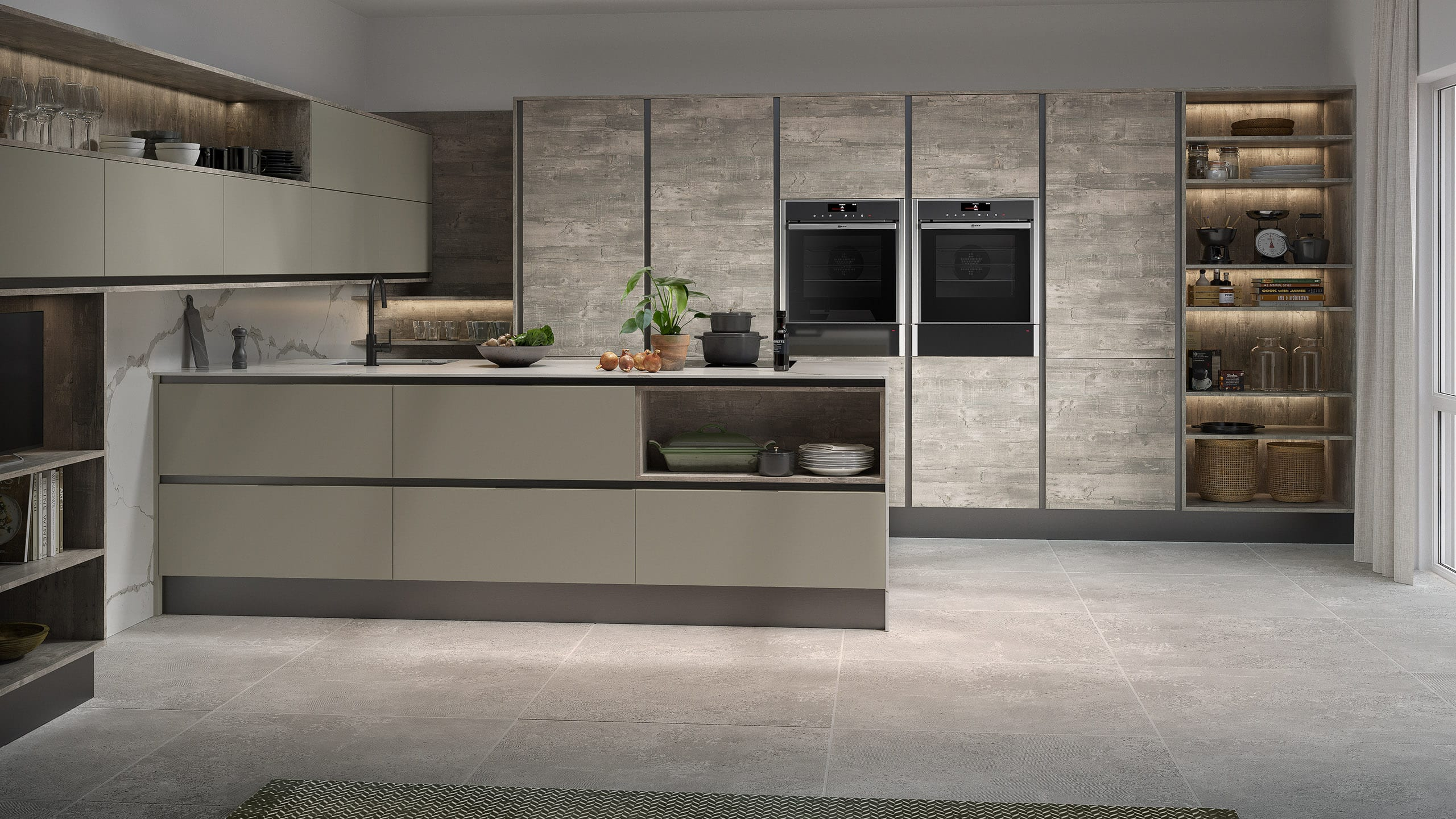 Inset Setosa Sage Grey and Woodgrain Atrium Grey - kitchen