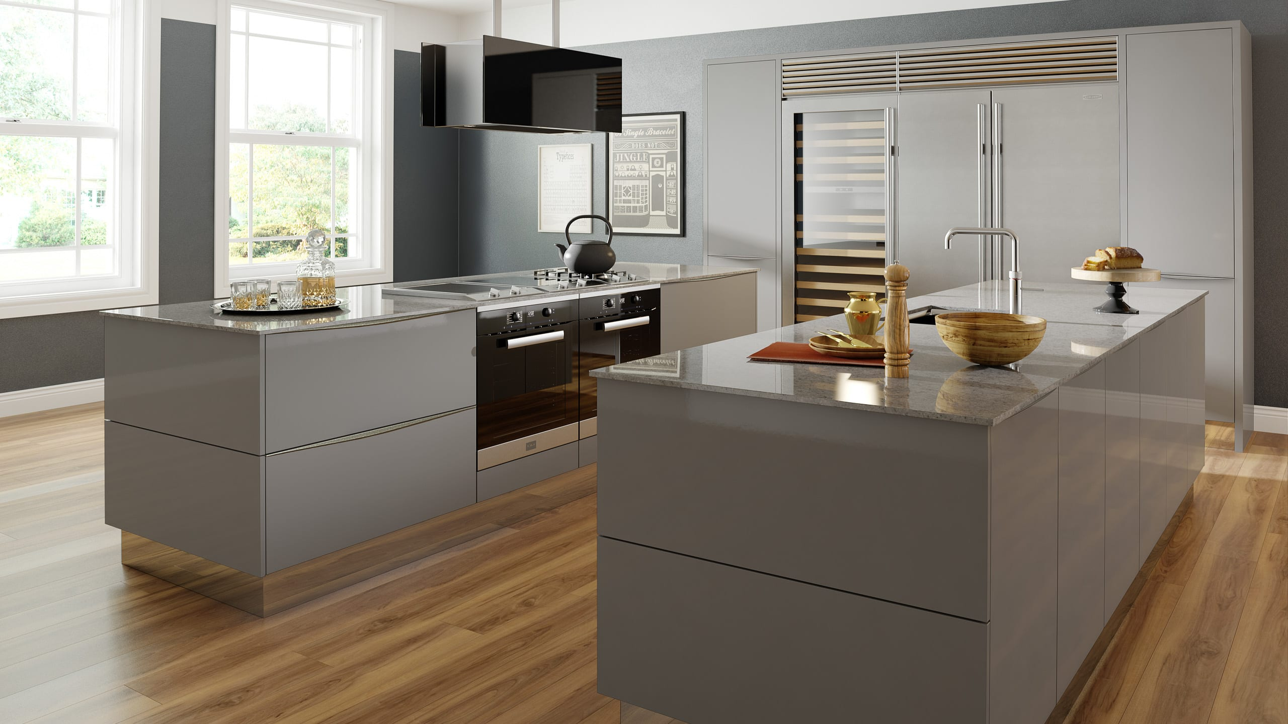 Mattonella Gloss Grey - contemporary kitchen