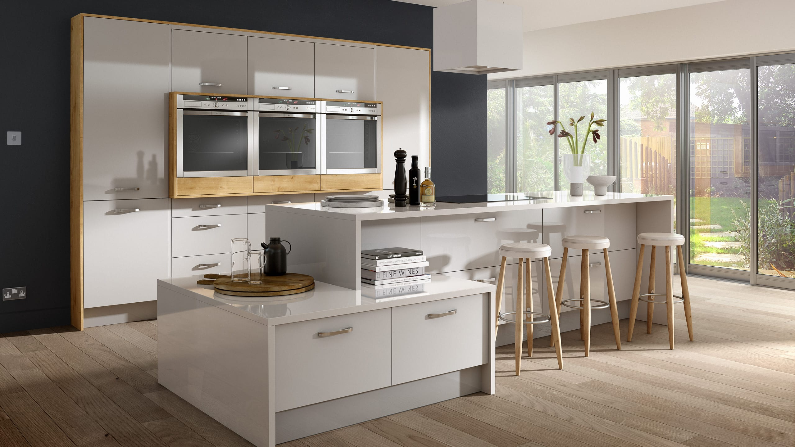 Mattonella Gloss Light Grey - contemporary kitchen