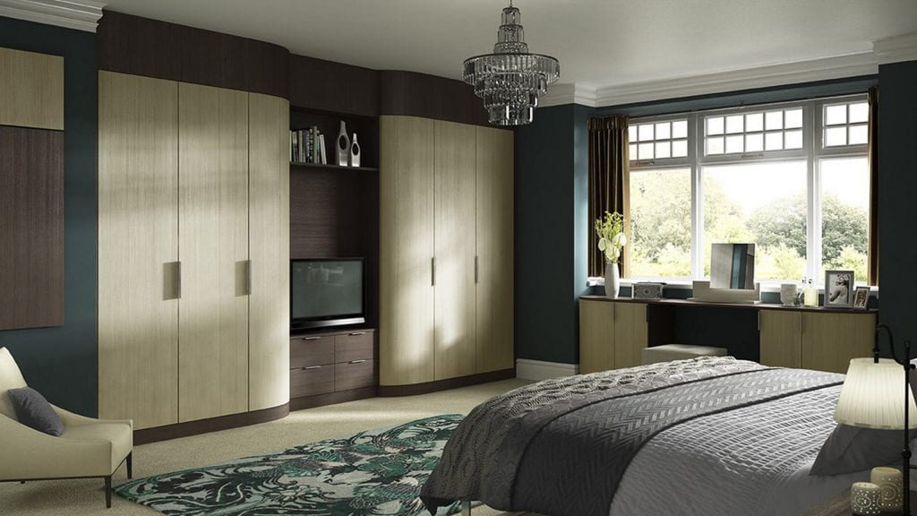 Moda Curved Dark Pine and Light Pine - bedroom design by Ashford Kitchens & Interiors.