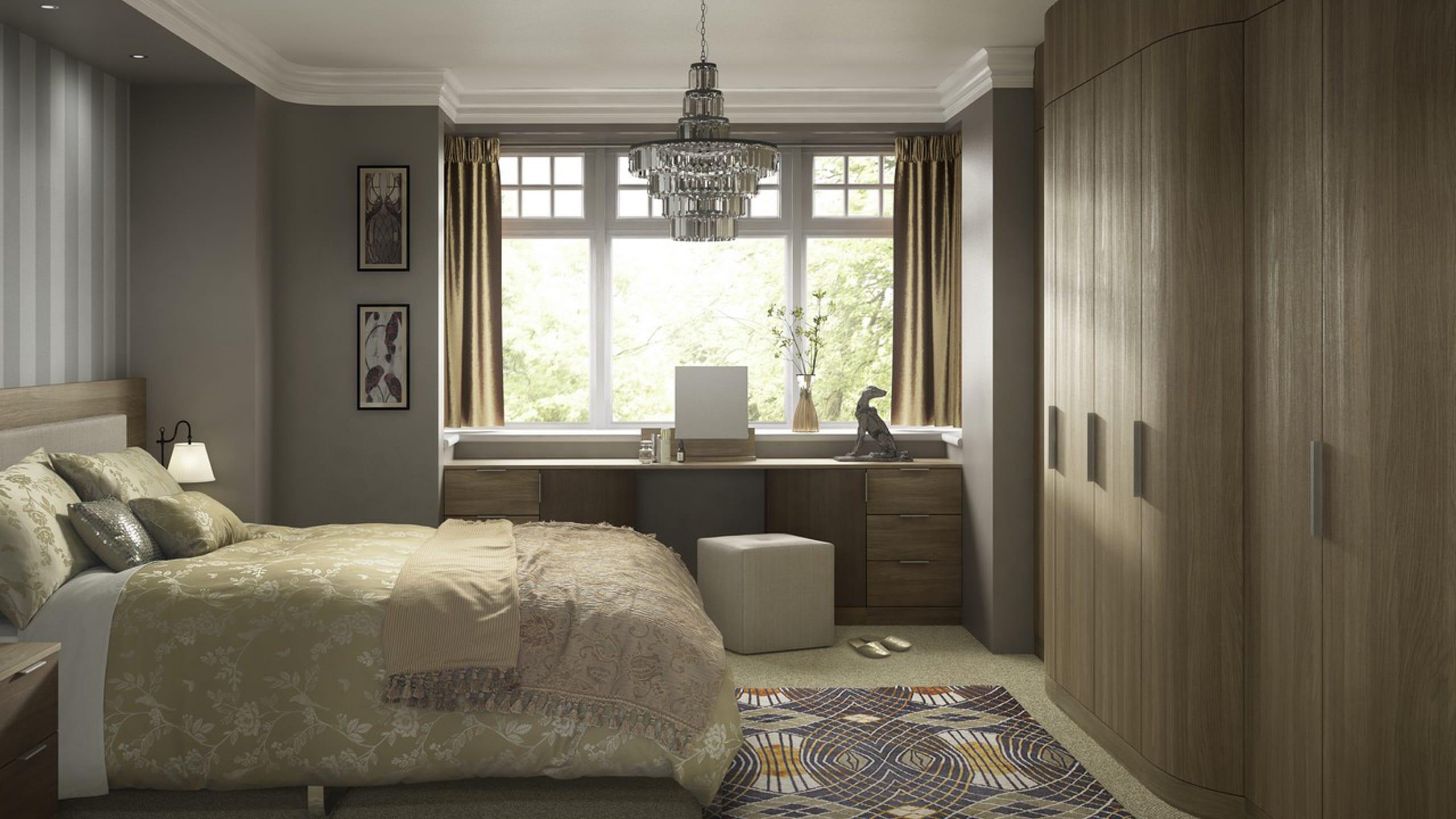 Moda Curved Mid Walnut and Dark Pine - bedroom