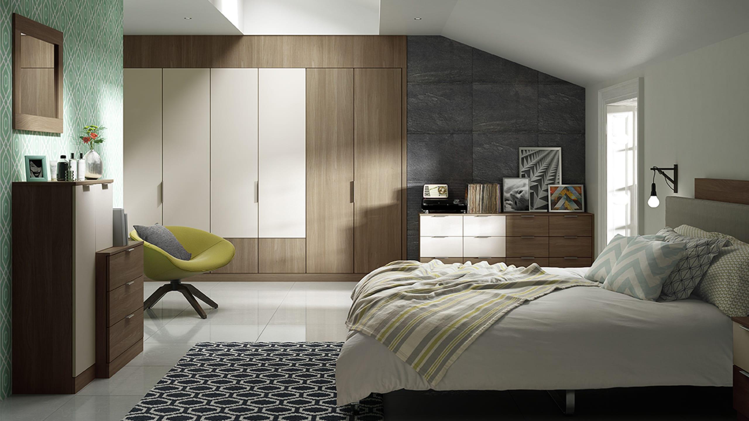 Moda Mid Walnut and Mushroom Matt - bedroom