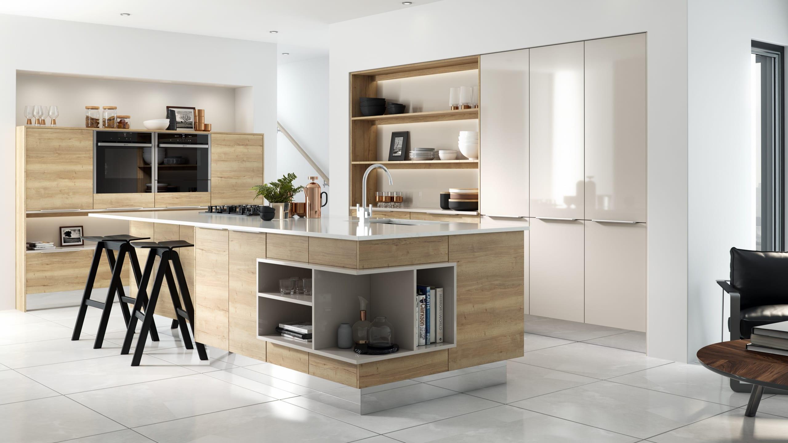 New England Oak - Gloss Cashmere - kitchen