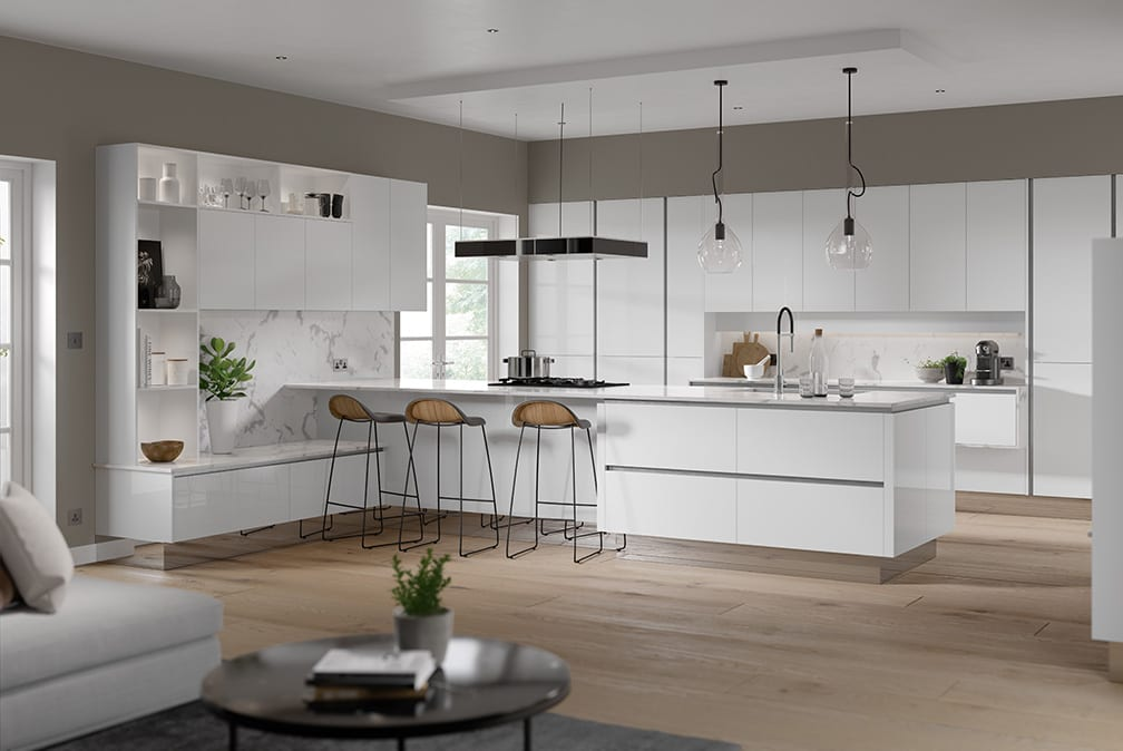 Oblique Gloss White kitchen