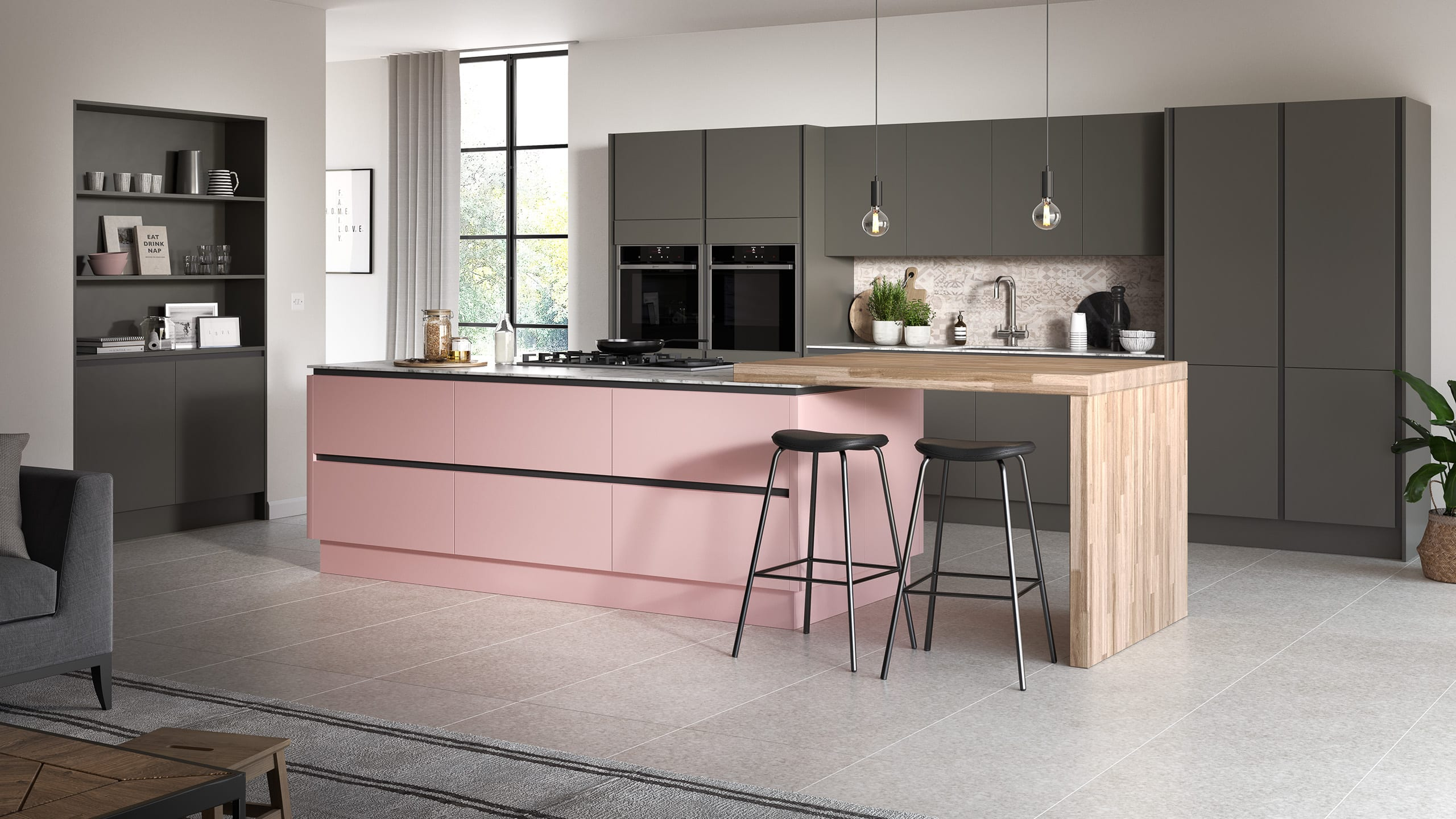 Oblique Painted Blush - Graphite - contemporary kitchen