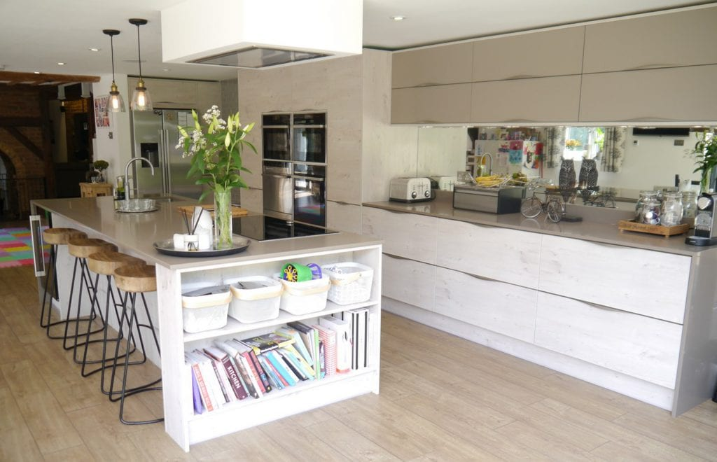 Multifunctional kitchen island with bookshelf.