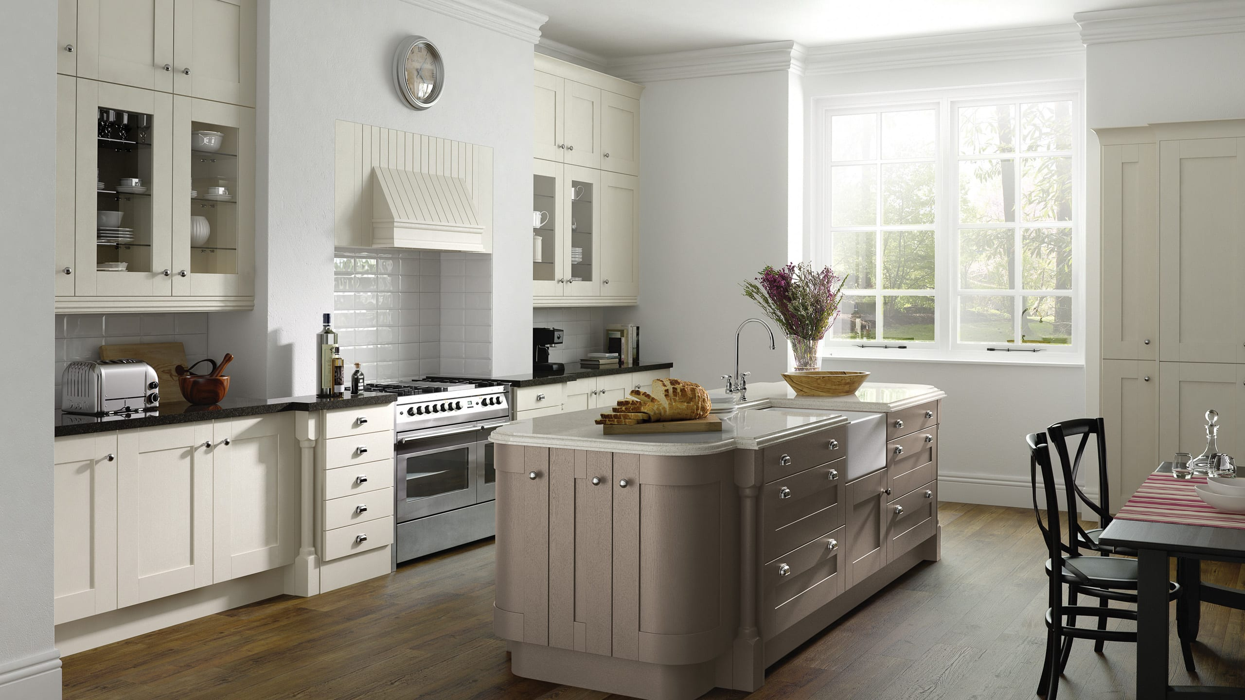 Painted Ivory and Hickory Wood Shaker - kitchen