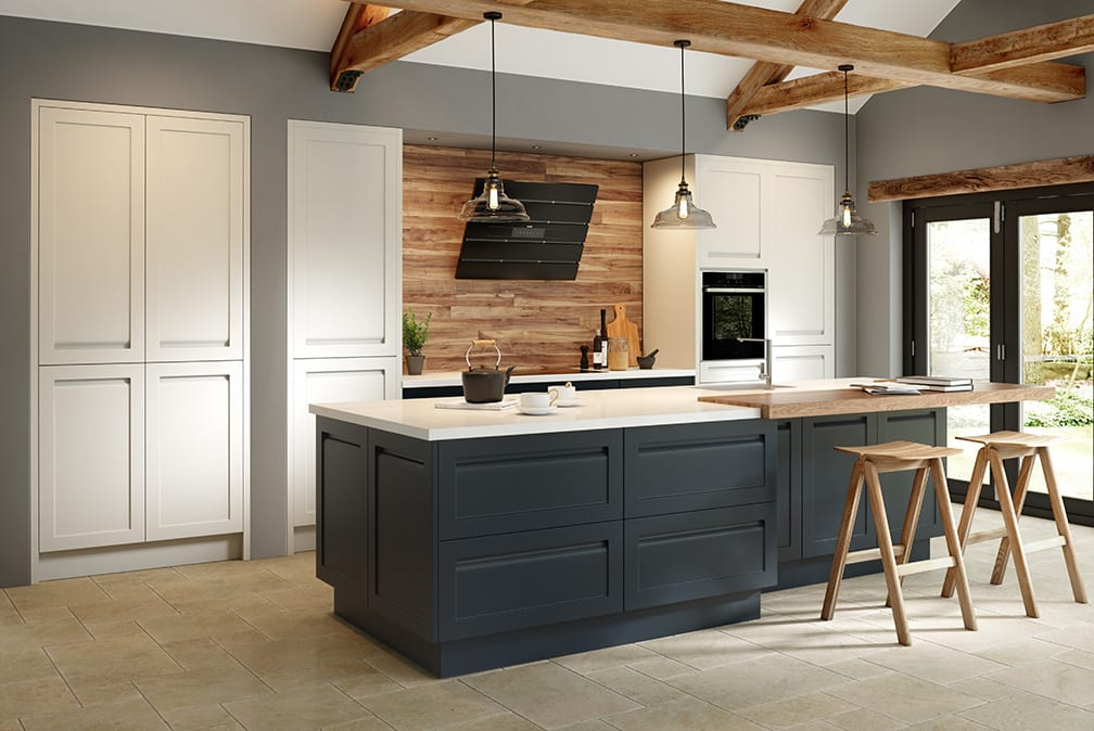 Savoy Painted Limestone & Anthracite - shaker kitchen by Ashford Kitchens & Interiors.