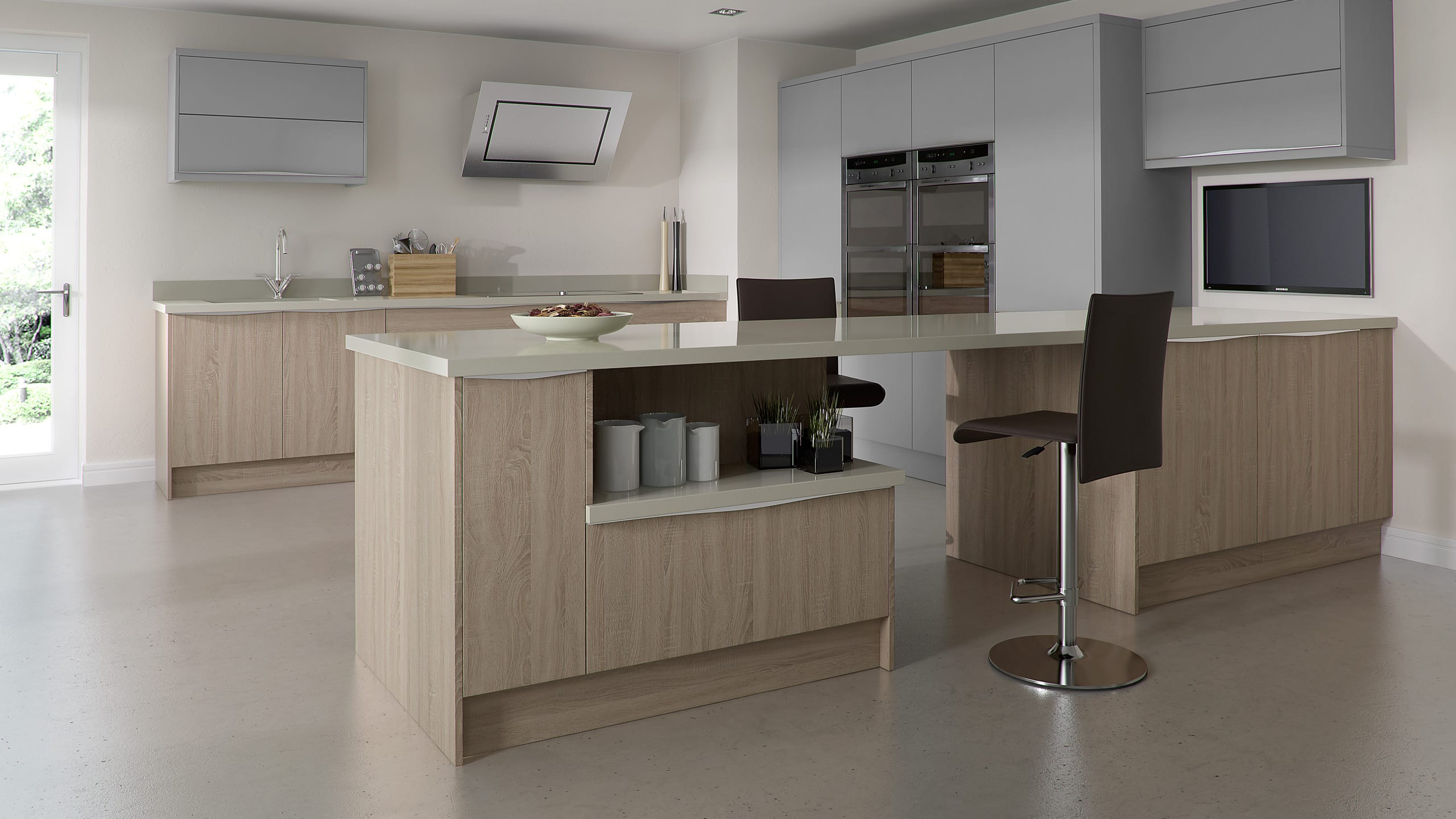 Setosa Light Grey - Bardolino Oak - contemporary kitchen
