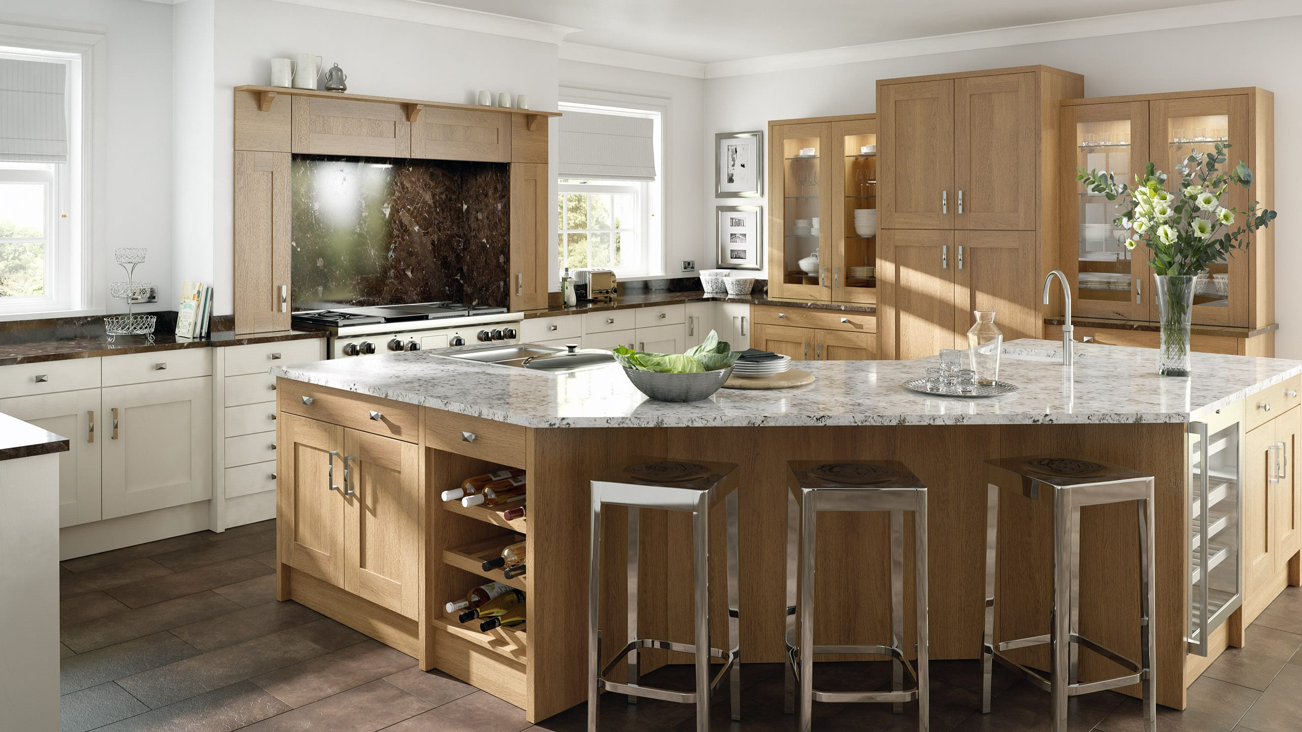 Shaker Lissa Oak Wood - kitchen island