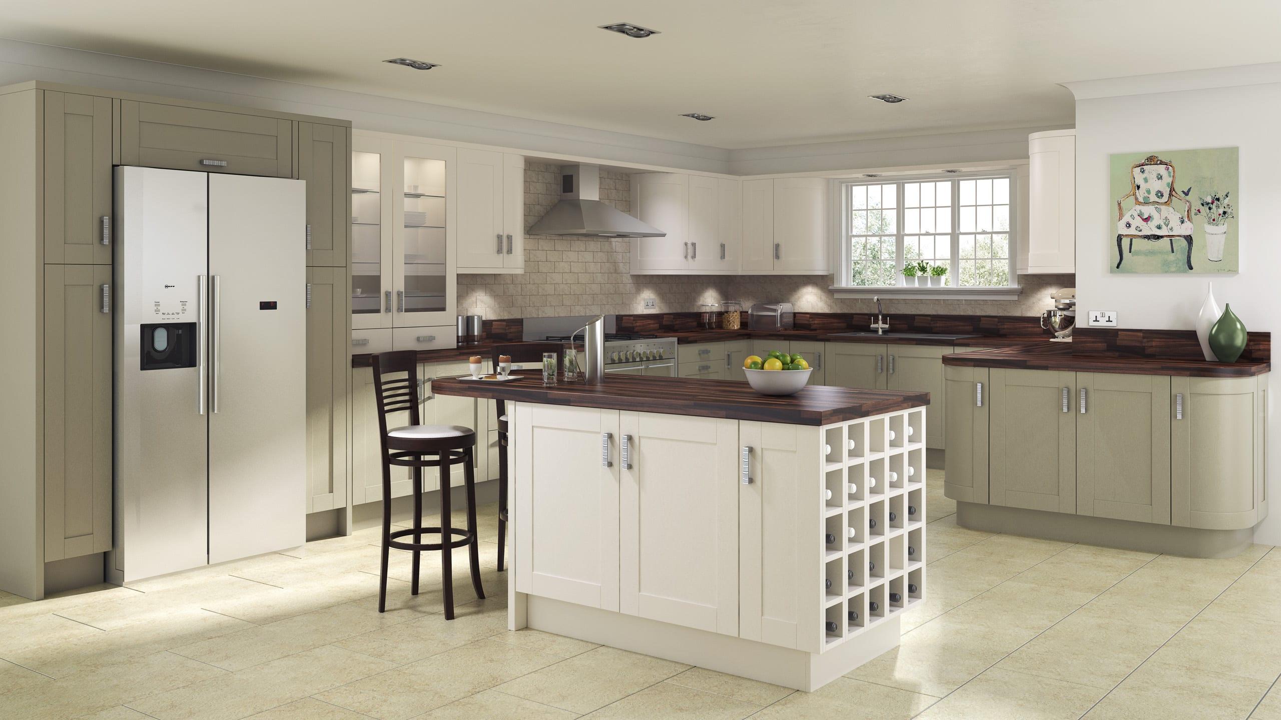 Shaker Painted Sage Grey - Ivory - kitchen