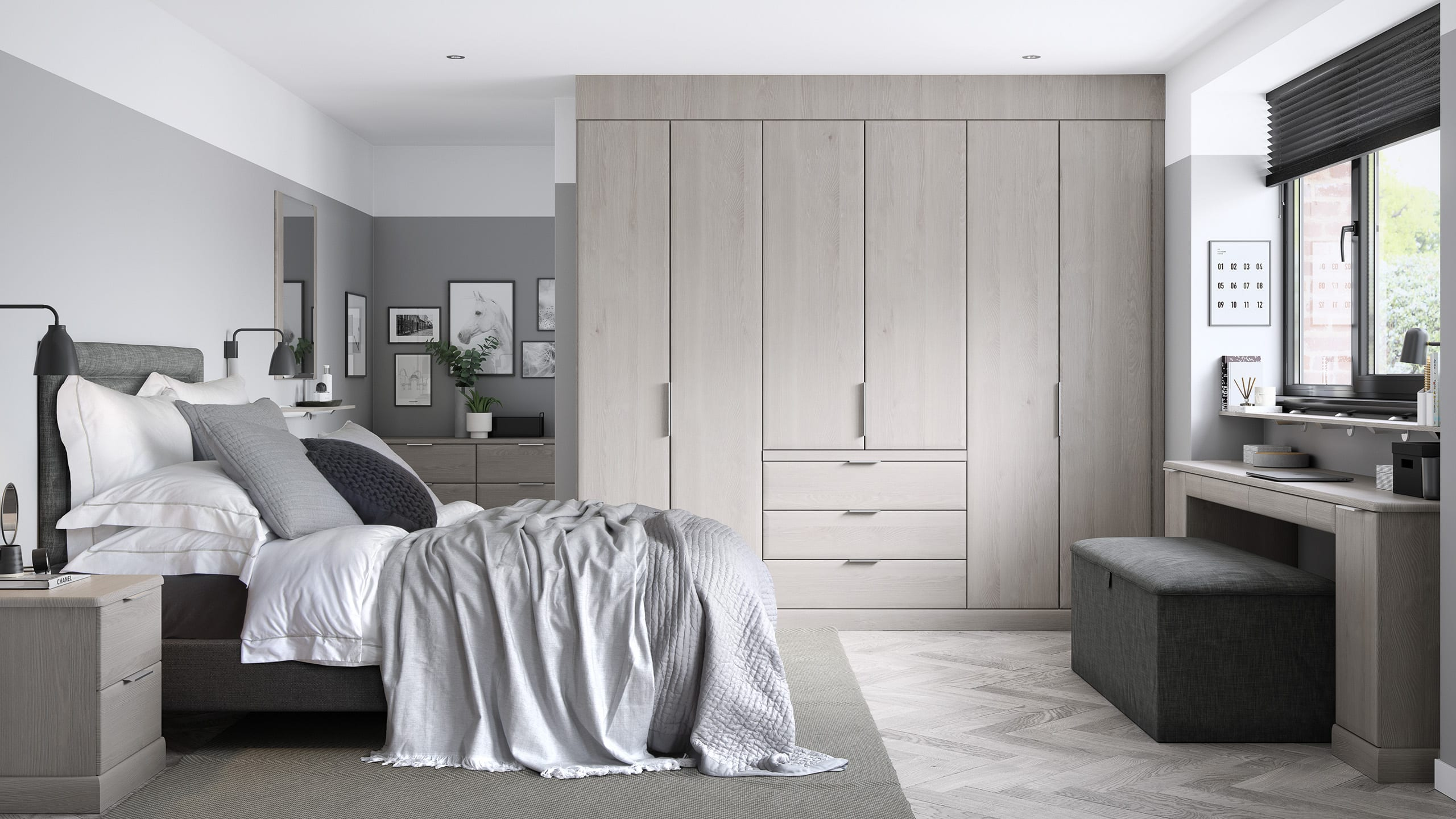 Sienna Rural Oak - fitted bedroom from Ashford Kitchens and Interiors Ltd.