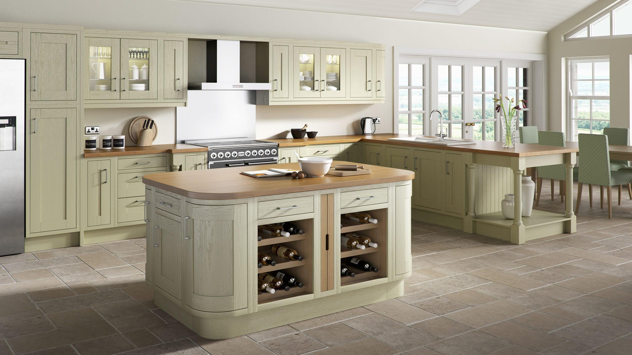 Wood Framed Painted Green - kitchen design