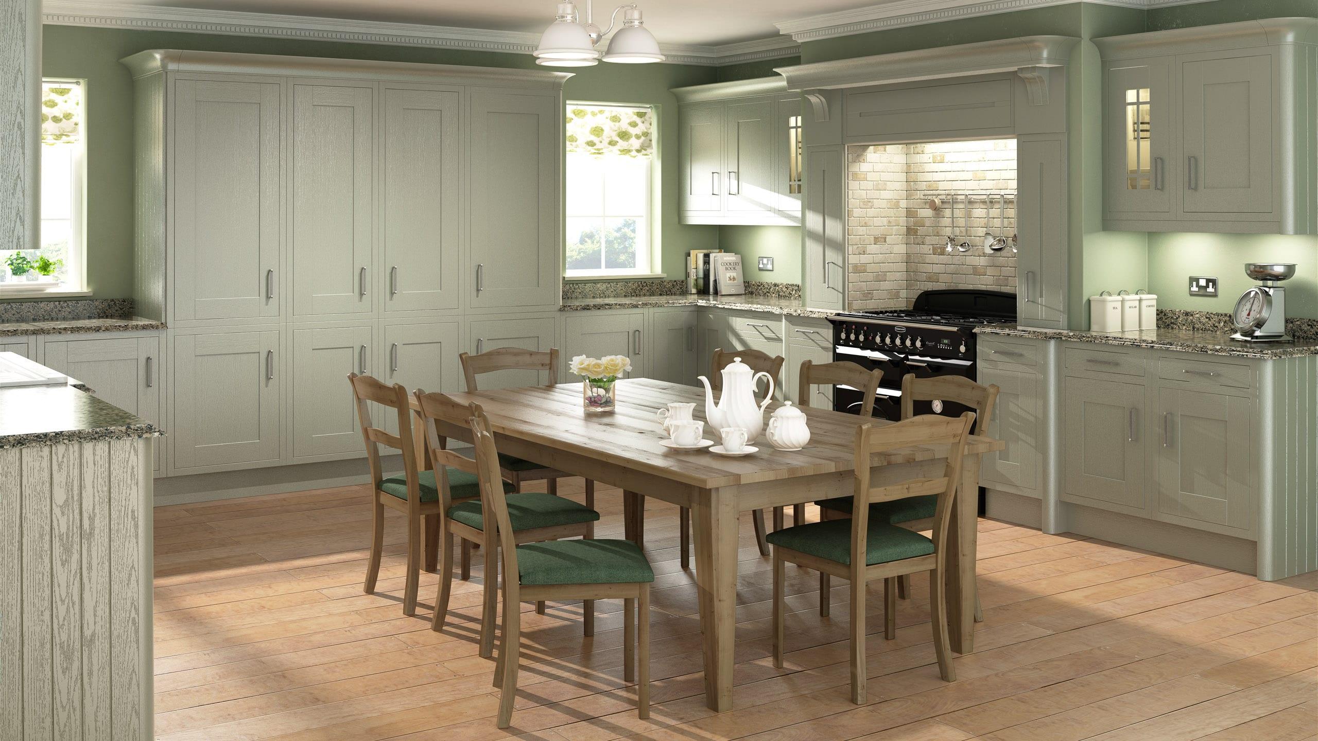 Wood Framed Painted Sage Grey - kitchen