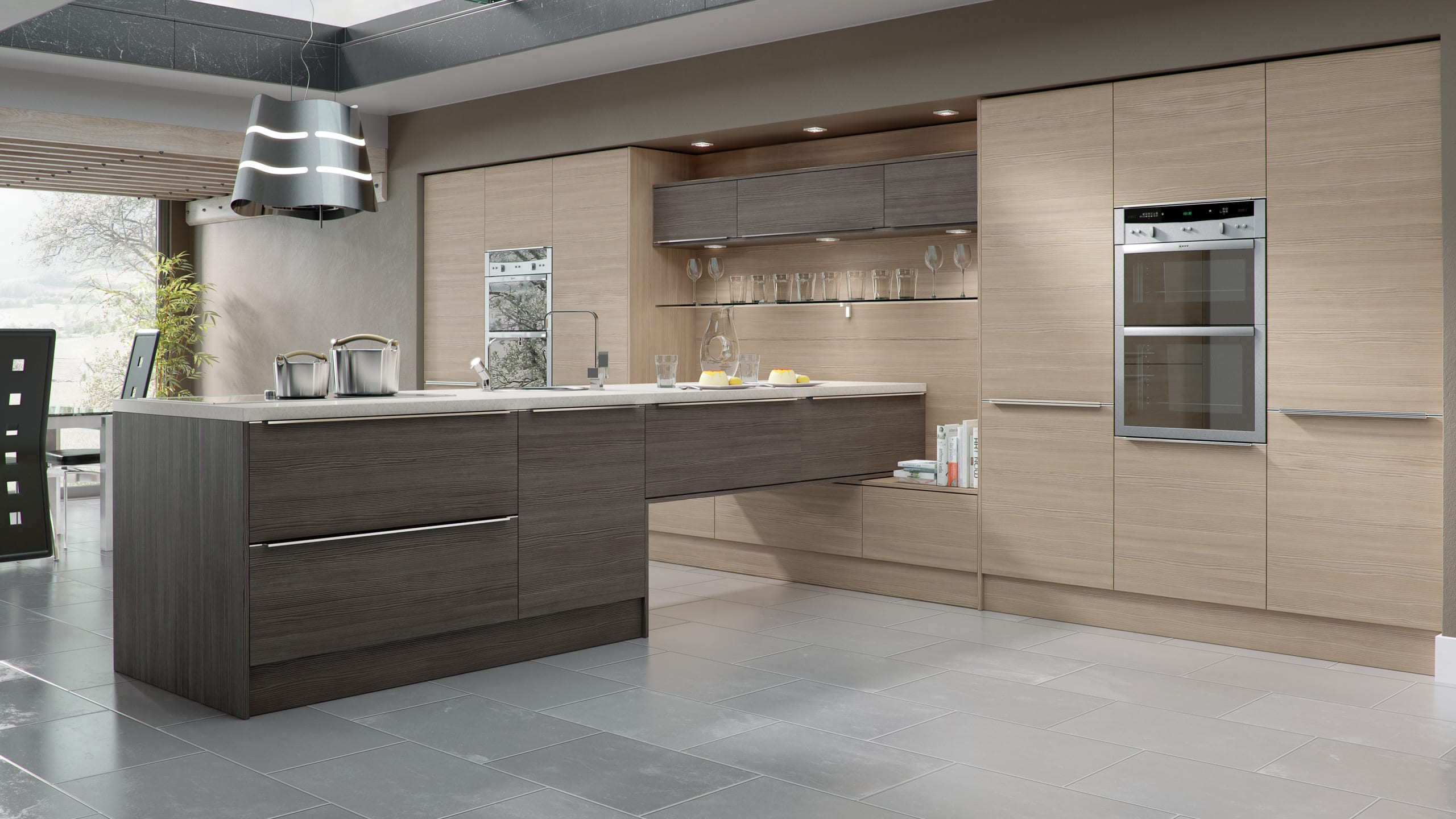 Woodgrain Brown Grey Avola and Champagne Avola - contemporary kitchen