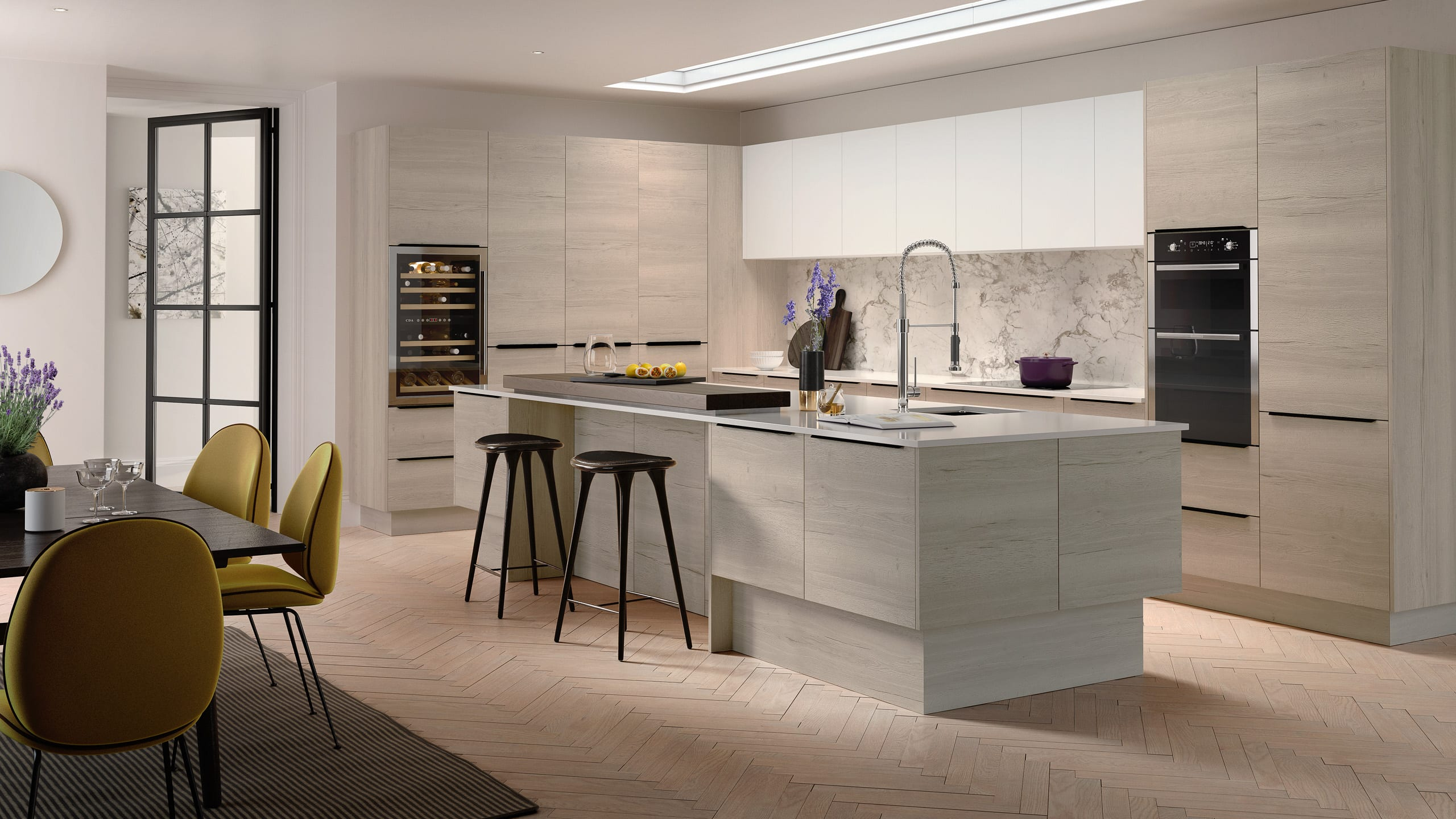 Woodgrain White Oak - contemporary kitchen