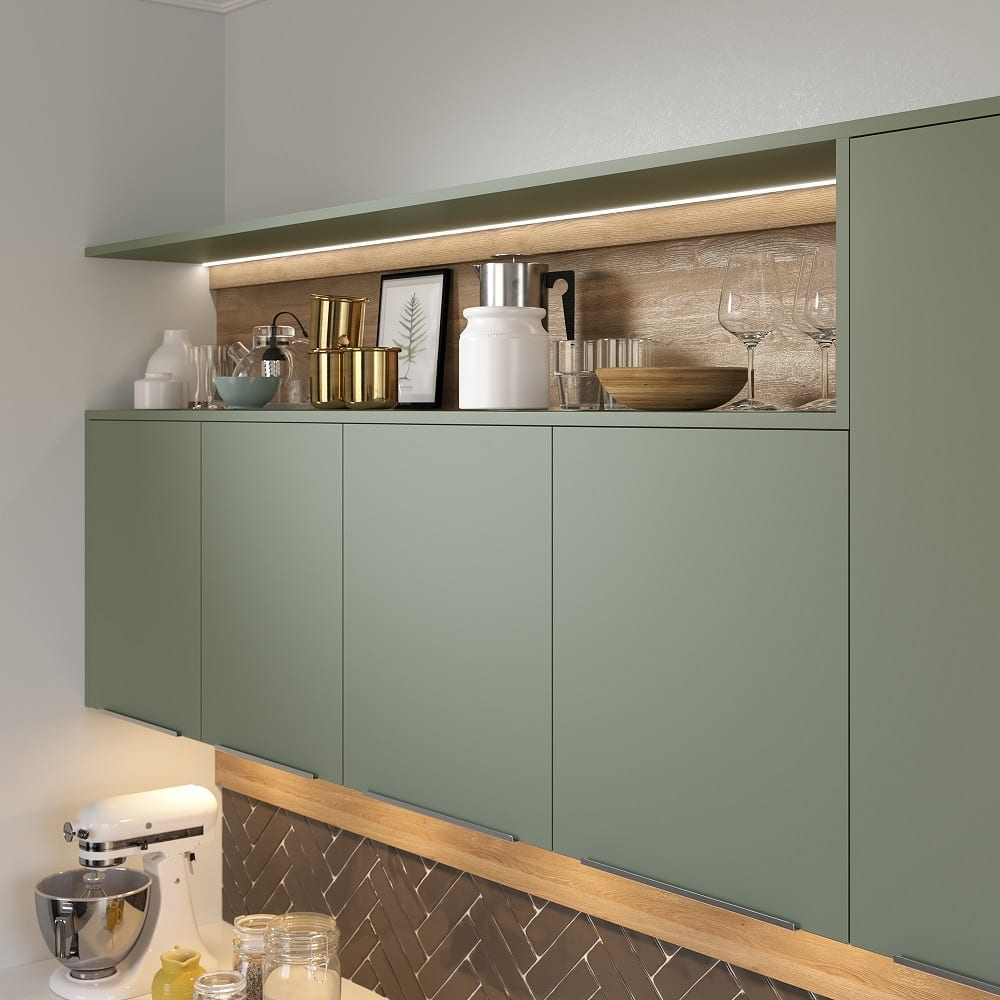 Cube Fjord Green Cameo Kitchen Cabinet by Ashford Kitchens & Interiors.